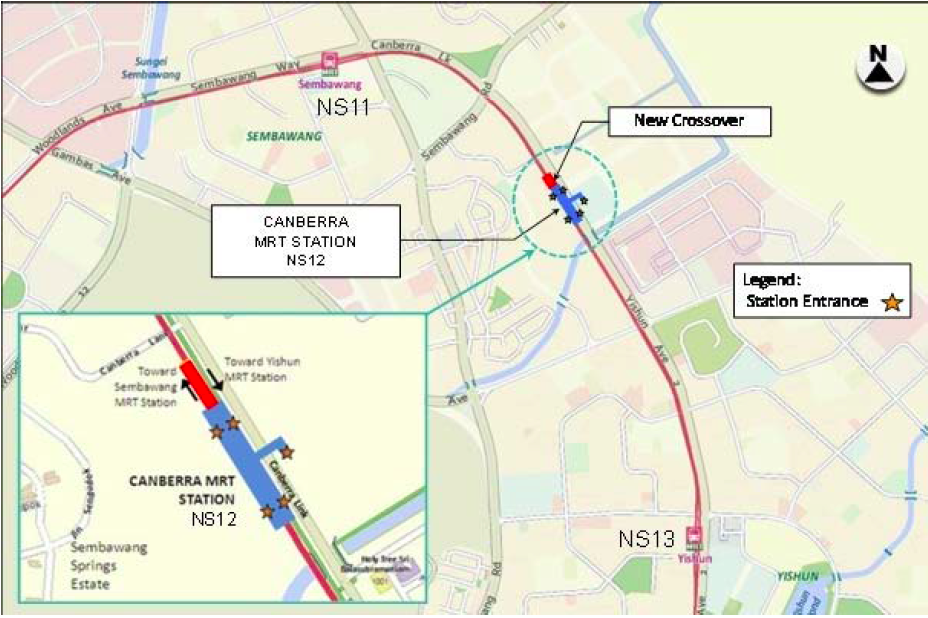 LTA Canberra MRT Station Location Map