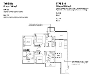 2 Bedroom Type B1a & B1d