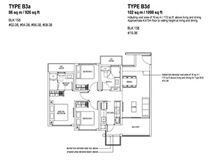 3 Bedroom Type B3a & B3d